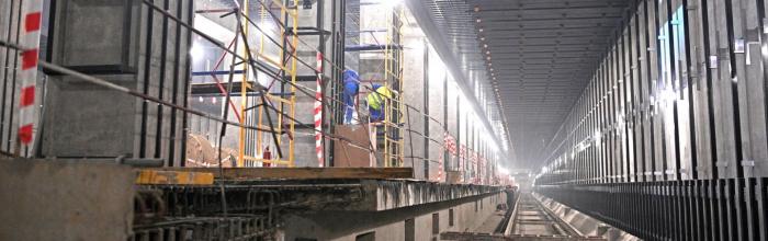 На станции БКЛ метро «Воронцовская» начали строить входные павильоны