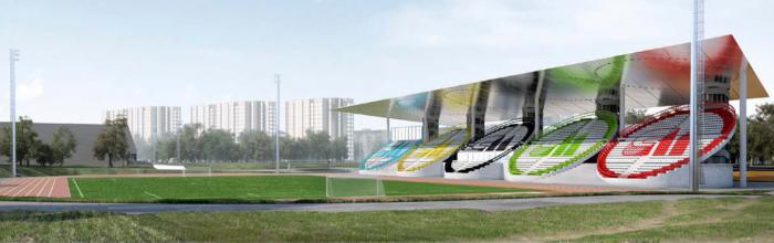 На стадионе «Москвич» ведутся работы по устройству футбольного поля