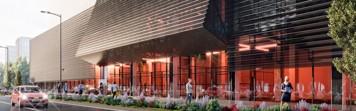 Фасад многофункционального комплекса «Мнёвники» готов на 60%